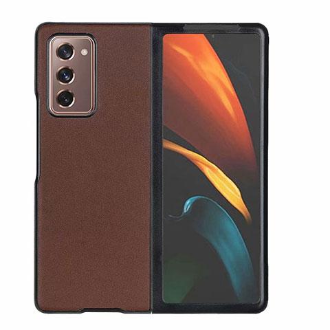 Samsung Galaxy Z Fold2 5G用ケース 高級感 手触り良いレザー柄 S03 サムスン ブラウン