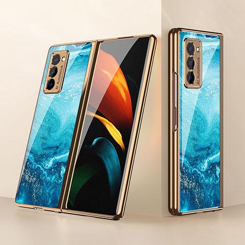 Samsung Galaxy Z Fold2 5G用ハイブリットバンパーケース プラスチック 鏡面 カバー サムスン ブルー