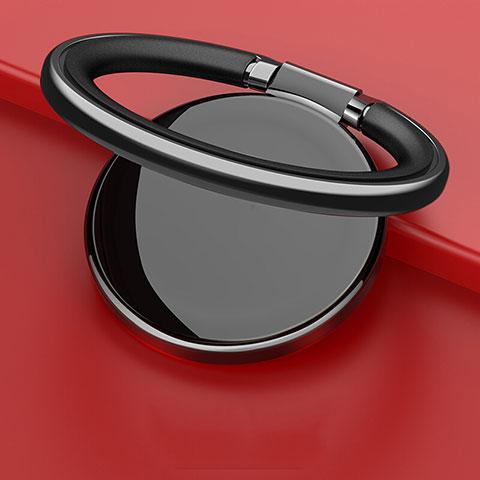 スタンドタイプのスマートフォン ホルダー マグネット式 ユニバーサル バンカーリング 指輪型 Z09 ブラック