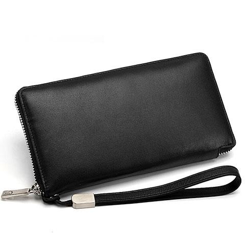 ハンドバッグ ポーチ 財布型ケース レザー ユニバーサル H18 ブラック