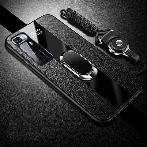 Xiaomi Mi 10 Ultra用シリコンケース ソフトタッチラバー レザー柄 アンド指輪 マグネット式 Xiaomi ブラック