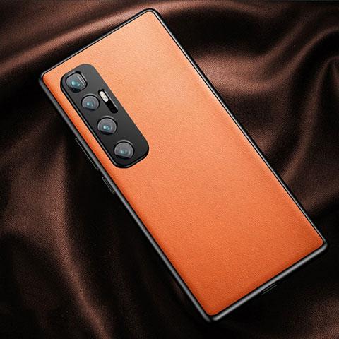 Xiaomi Mi 10 Ultra用ケース 高級感 手触り良いレザー柄 Xiaomi オレンジ