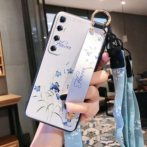 Xiaomi Mi 10 Ultra用シリコンケース ソフトタッチラバー 花 カバー Xiaomi ホワイト