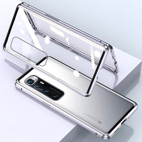 Xiaomi Mi 10 Ultra用ケース 高級感 手触り良い アルミメタル 製の金属製 360度 フルカバーバンパー 鏡面 カバー M01 Xiaomi シルバー