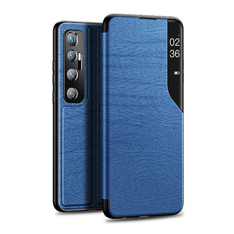 Xiaomi Mi 10 Ultra用手帳型 レザーケース スタンド カバー Xiaomi ネイビー