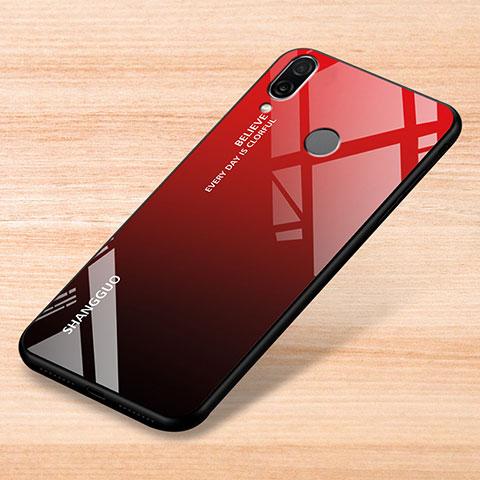Xiaomi Redmi Note 7用ハイブリットバンパーケース プラスチック 鏡面 虹 グラデーション 勾配色 カバー Xiaomi レッド