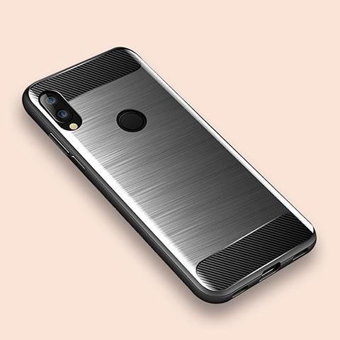 Xiaomi Redmi Note 7用シリコンケース ソフトタッチラバー ライン カバー Xiaomi シルバー