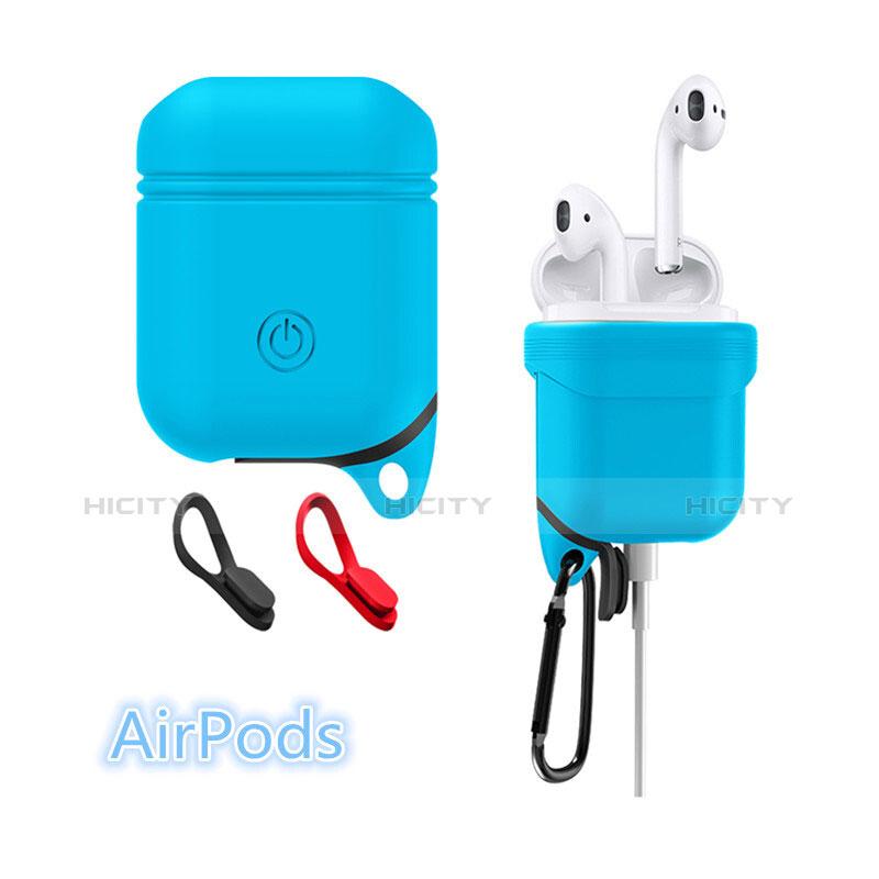 シリコン ケース 保護 収納 ズ用 Airpods 充電ボックス Z02 アップル ブルー