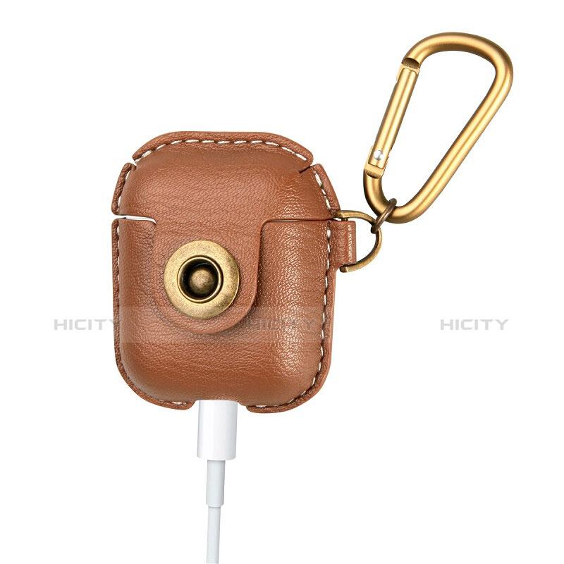 レザー ケース カラビナ リング 付属 保護 収納 ズ用 Airpods 充電ボックス アップル ブラウン