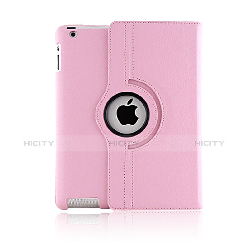Apple iPad 2用回転式 スタンド レザーケース アップル ピンク