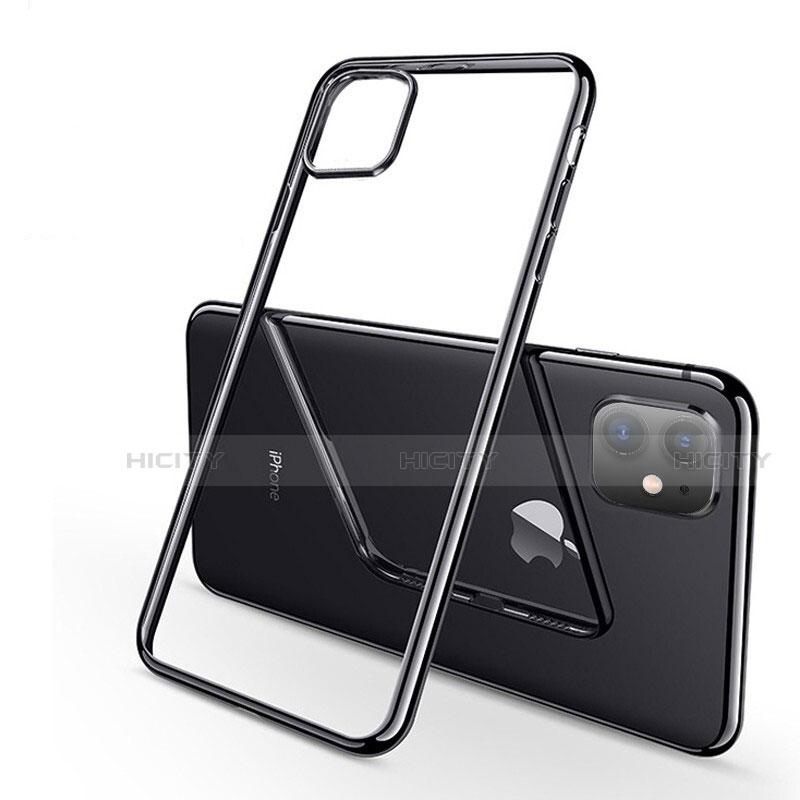 Apple iPhone 11用極薄ソフトケース シリコンケース 耐衝撃 全面保護 クリア透明 H03 アップル ブラック