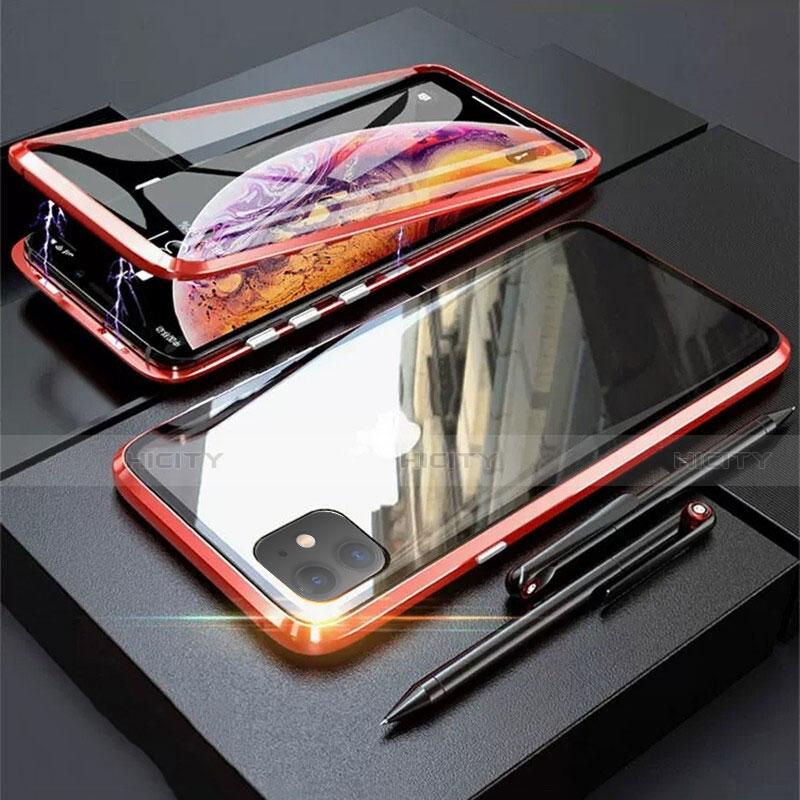 Apple iPhone 11用ケース 高級感 手触り良い アルミメタル 製の金属製 360度 フルカバーバンパー 鏡面 カバー M03 アップル レッド
