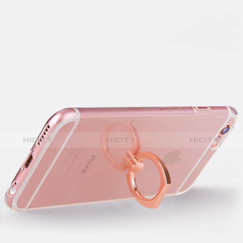 Apple iPhone 6S用極薄ソフトケース シリコンケース 耐衝撃 全面保護 クリア透明 アンド指輪 S01 アップル ローズゴールド