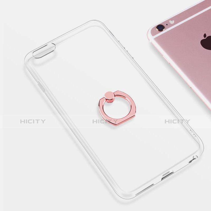 Apple iPhone 6S用極薄ソフトケース シリコンケース 耐衝撃 全面保護 クリア透明 アンド指輪 S01 アップル