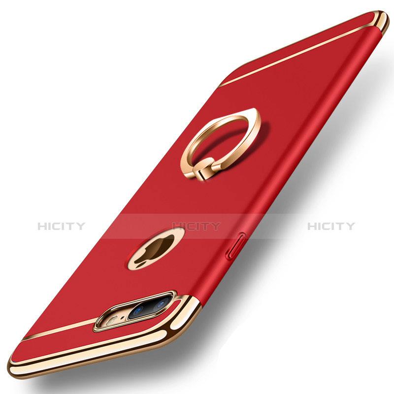 Apple iPhone 8 Plus用ケース 高級感 手触り良い メタル兼プラスチック バンパー アンド指輪 亦 ひも A01 アップル レッド