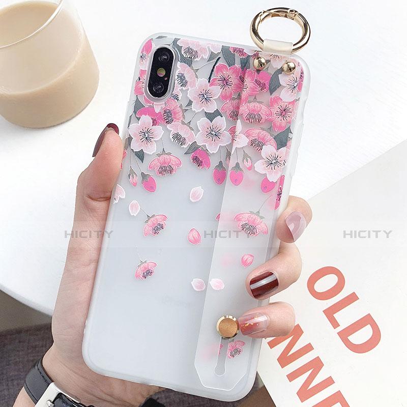 Apple iPhone X用シリコンケース ソフトタッチラバー 花 カバー S01 アップル ピンク