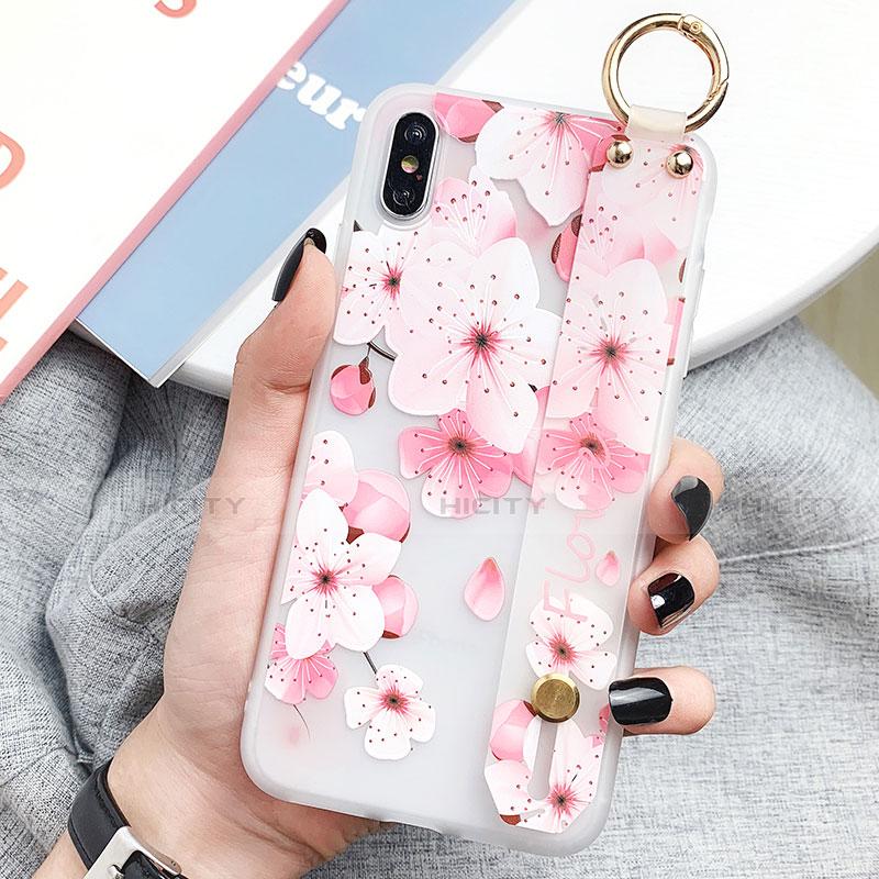 Apple iPhone X用シリコンケース ソフトタッチラバー 花 カバー S03 アップル ピンク