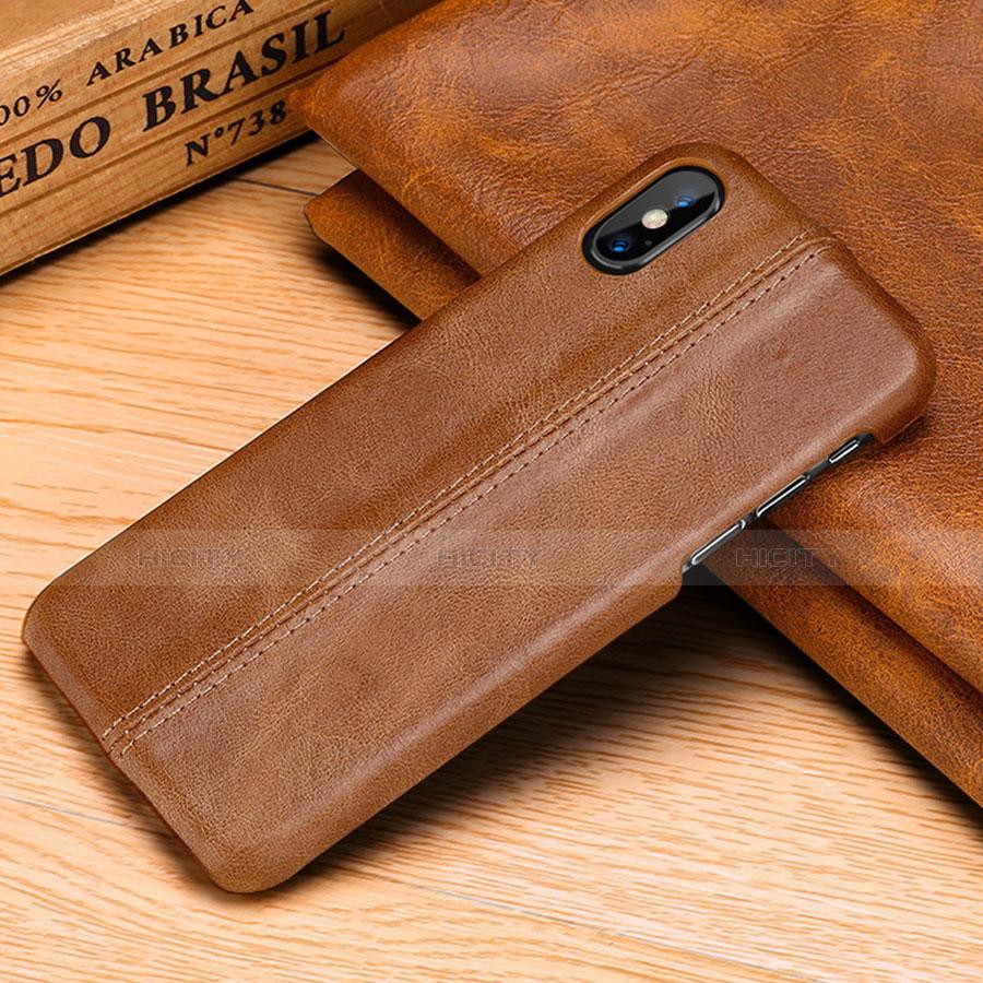 Apple iPhone X用ケース 高級感 手触り良いレザー柄 S11 アップル オレンジ