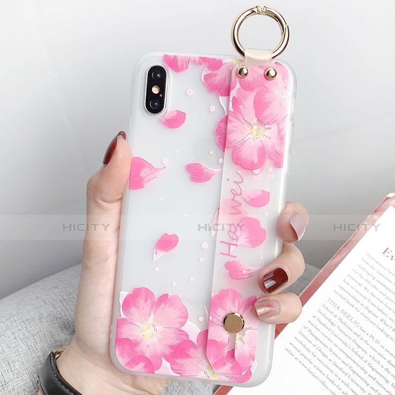 Apple iPhone X用シリコンケース ソフトタッチラバー 花 カバー S04 アップル ピンク