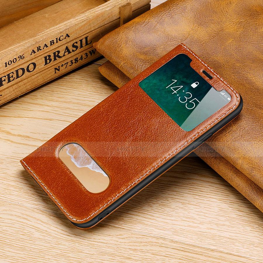 Apple iPhone X用手帳型 レザーケース スタンド カバー P02 アップル オレンジ