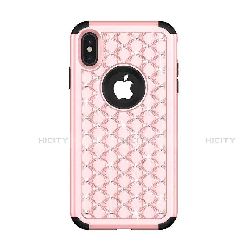 Apple iPhone X用ハイブリットバンパーケース ブリンブリン カバー 前面と背面 360度 フル アップル ローズゴールド
