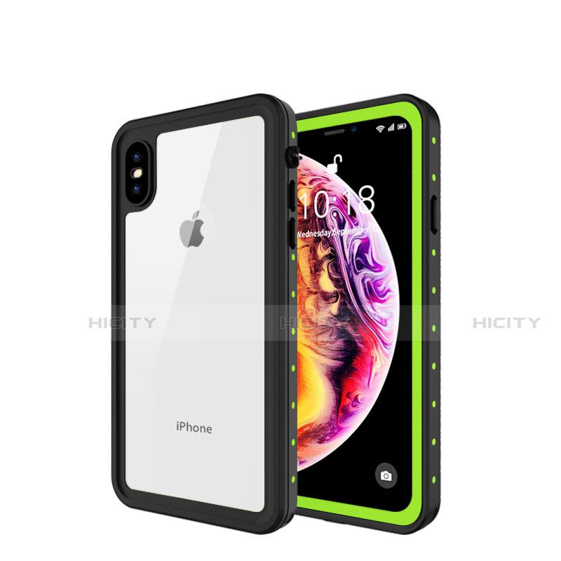 Apple iPhone X用完全防水ケース ハイブリットバンパーカバー 高級感 手触り良い 360度 W01 アップル グリーン