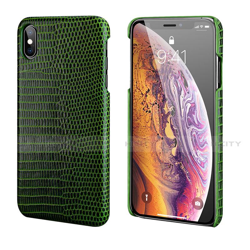 Apple iPhone X用ケース 高級感 手触り良いレザー柄 S12 アップル グリーン