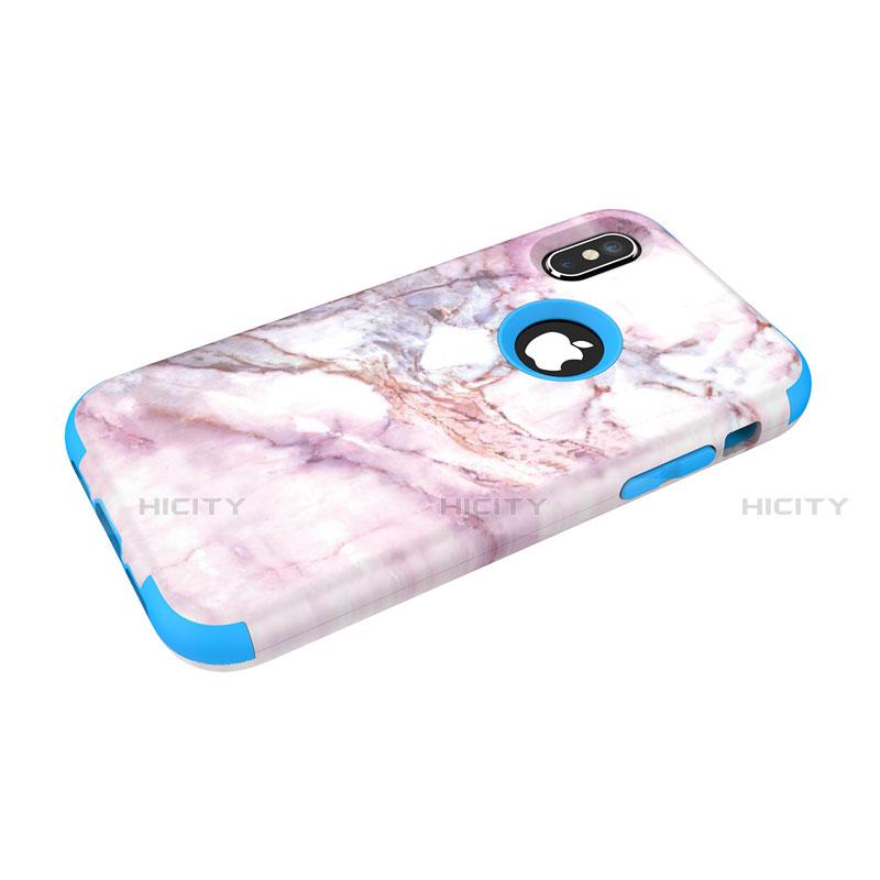 Apple iPhone X用ハイブリットバンパーケース プラスチック 兼シリコーン カバー 前面と背面 360度 フル U01 アップル