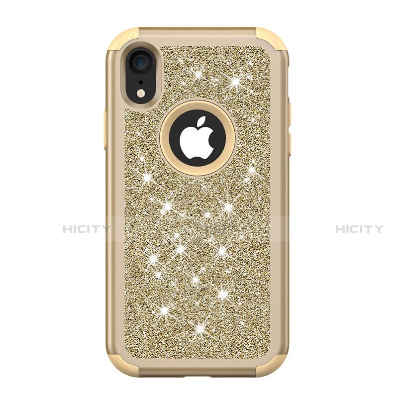 Apple iPhone XR用ハイブリットバンパーケース ブリンブリン カバー 前面と背面 360度 フル アップル マルチカラー