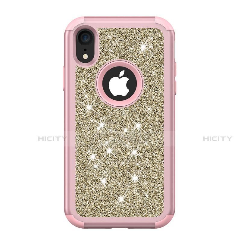 Apple iPhone XR用ハイブリットバンパーケース ブリンブリン カバー 前面と背面 360度 フル アップル ピンク