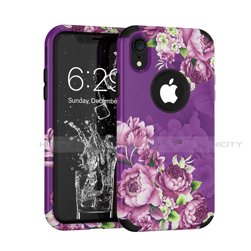 Apple iPhone XR用ハイブリットバンパーケース プラスチック 兼シリコーン カバー 前面と背面 360度 フル U01 アップル パープル