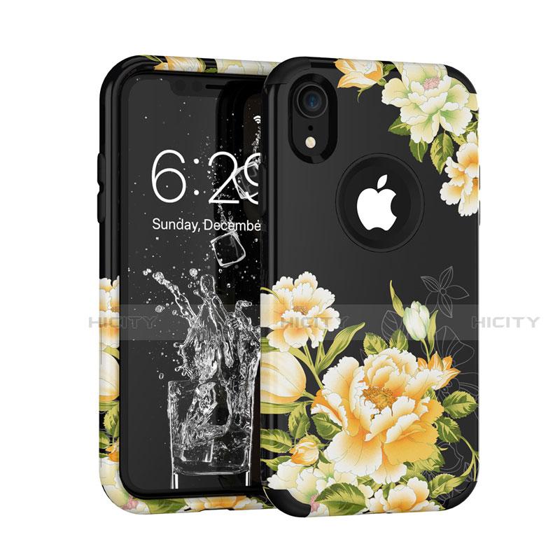 Apple iPhone XR用ハイブリットバンパーケース プラスチック 兼シリコーン カバー 前面と背面 360度 フル U01 アップル ブラック