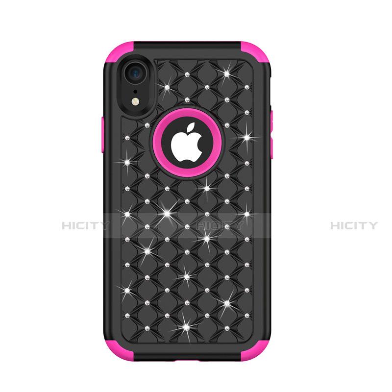 Apple iPhone XR用ハイブリットバンパーケース ブリンブリン カバー 前面と背面 360度 フル U01 アップル マルチカラー