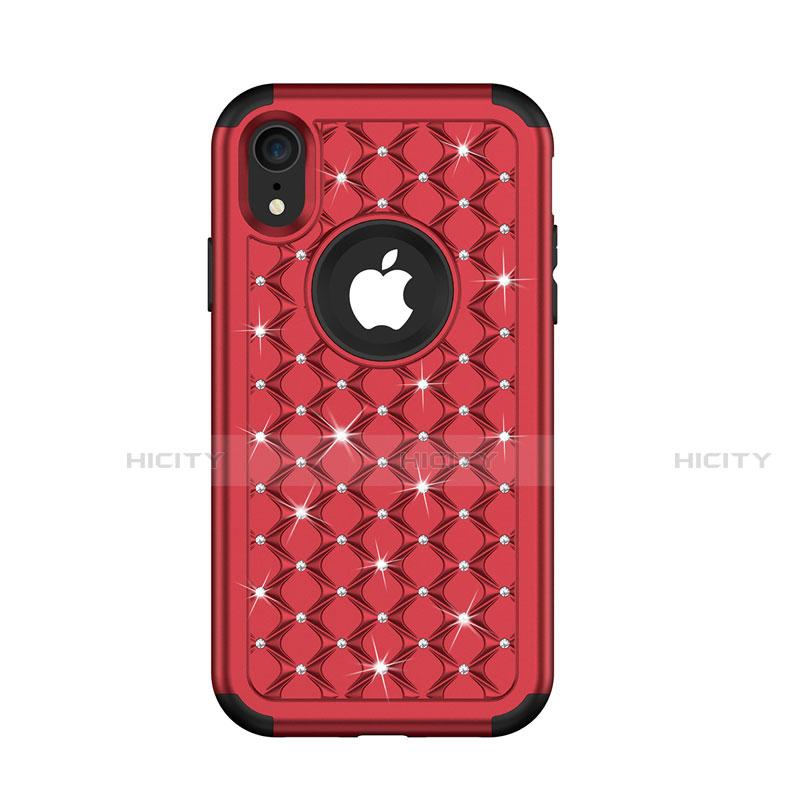Apple iPhone XR用ハイブリットバンパーケース ブリンブリン カバー 前面と背面 360度 フル U01 アップル レッド