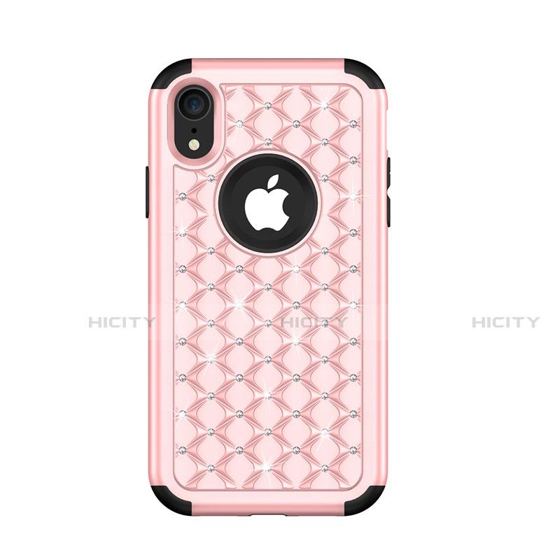Apple iPhone XR用ハイブリットバンパーケース ブリンブリン カバー 前面と背面 360度 フル U01 アップル ローズゴールド