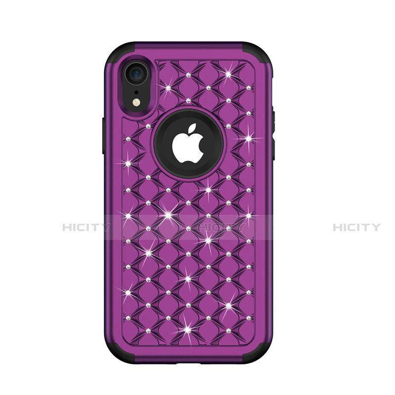 Apple iPhone XR用ハイブリットバンパーケース ブリンブリン カバー 前面と背面 360度 フル U01 アップル パープル