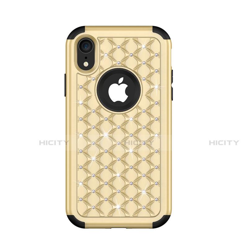Apple iPhone XR用ハイブリットバンパーケース ブリンブリン カバー 前面と背面 360度 フル U01 アップル ゴールド