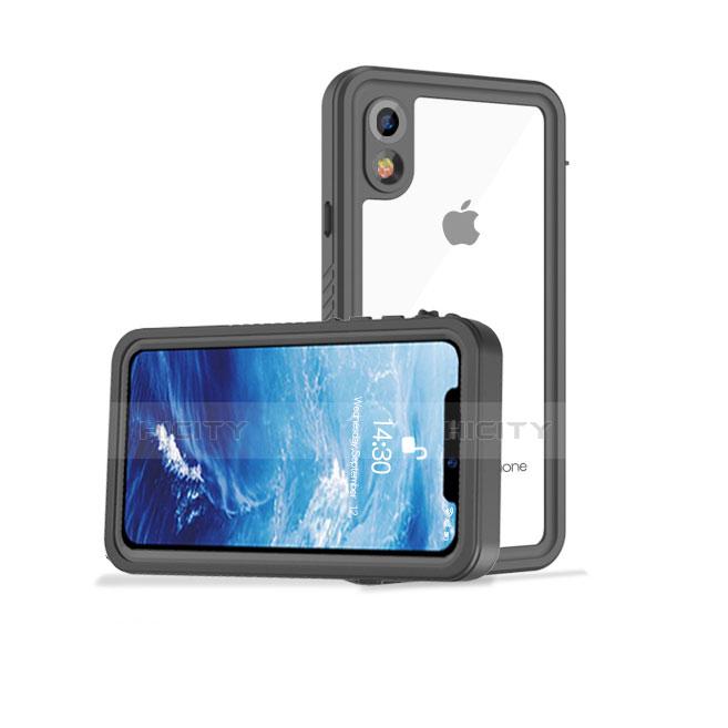 Apple iPhone XR用完全防水ケース ハイブリットバンパーカバー 高級感 手触り良い 360度 アップル ブラック