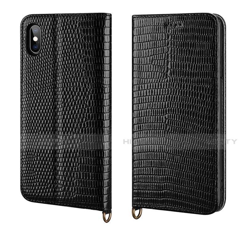 Apple iPhone Xs用手帳型 レザーケース スタンド カバー P03 アップル ブラック