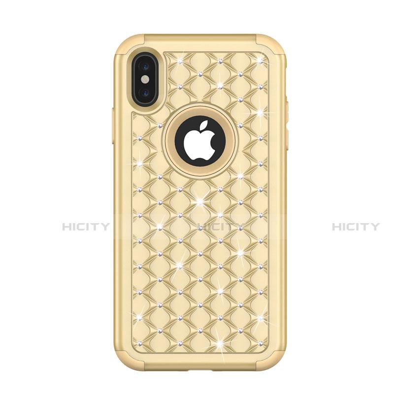 Apple iPhone Xs用ハイブリットバンパーケース ブリンブリン カバー 前面と背面 360度 フル アップル ゴールド