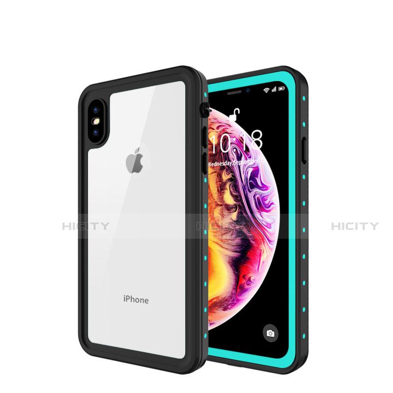 Apple iPhone Xs用完全防水ケース ハイブリットバンパーカバー 高級感 手触り良い 360度 W01 アップル シアン
