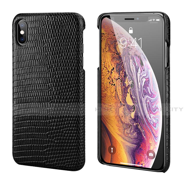 Apple iPhone Xs用ケース 高級感 手触り良いレザー柄 S12 アップル ブラック