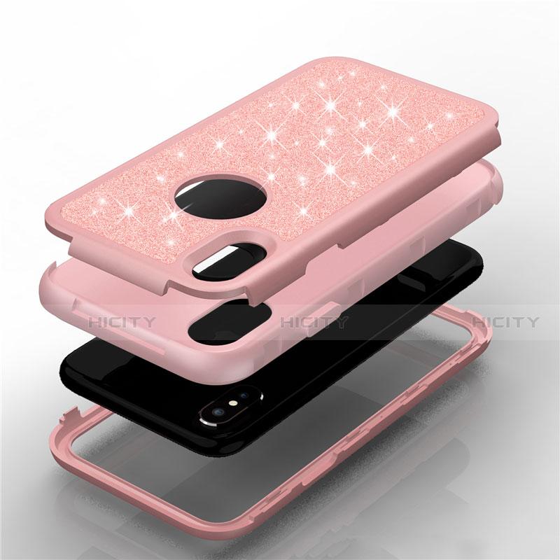 Apple iPhone Xs用ハイブリットバンパーケース ブリンブリン カバー 前面と背面 360度 フル U01 アップル