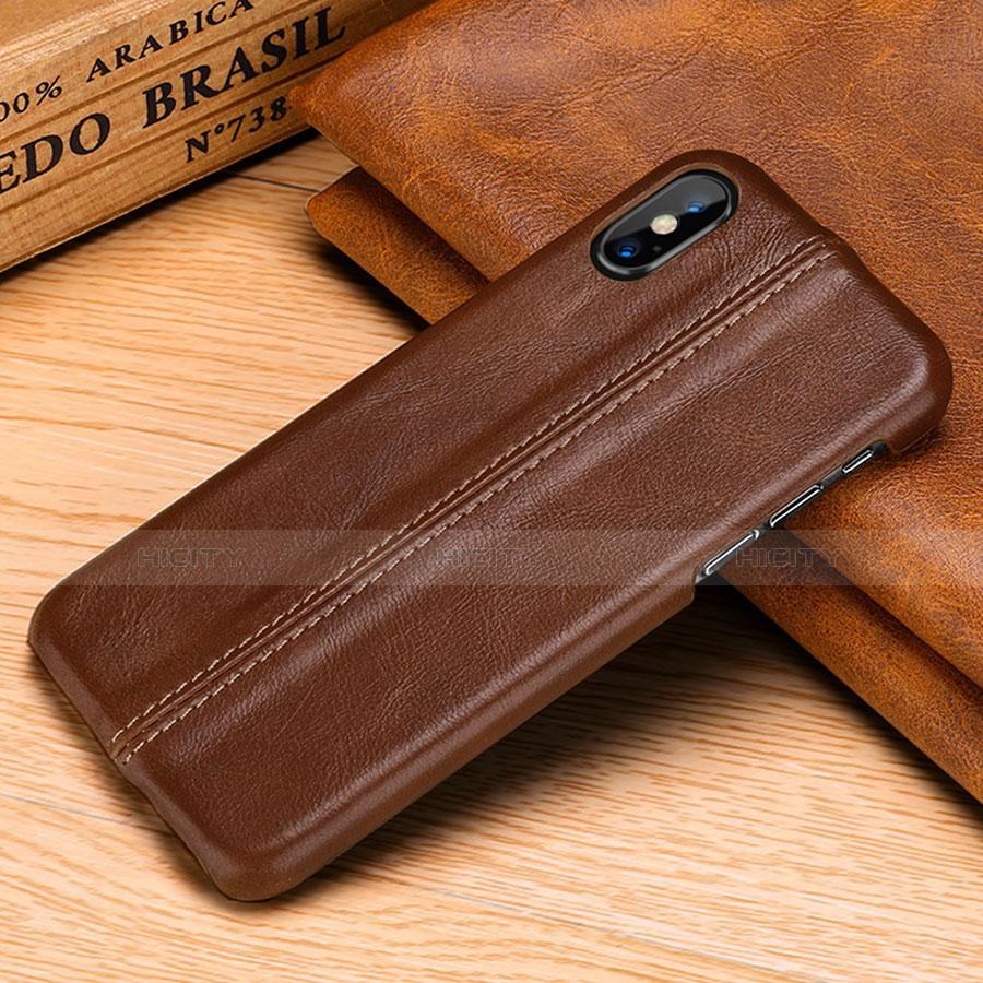 Apple iPhone Xs Max用ケース 高級感 手触り良いレザー柄 S11 アップル ブラウン