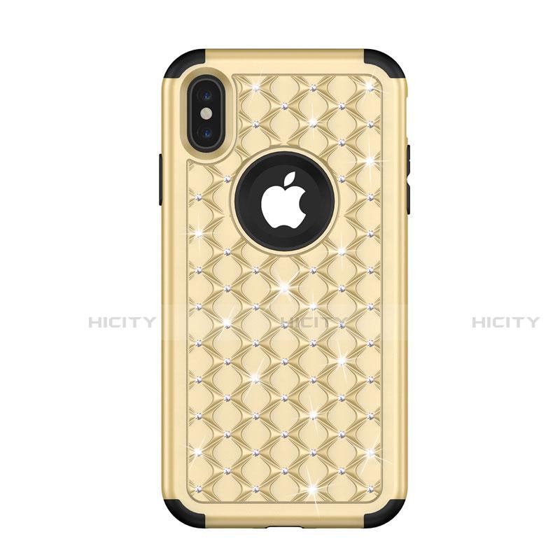 Apple iPhone Xs Max用ハイブリットバンパーケース ブリンブリン カバー 前面と背面 360度 フル アップル ゴールド・ブラック