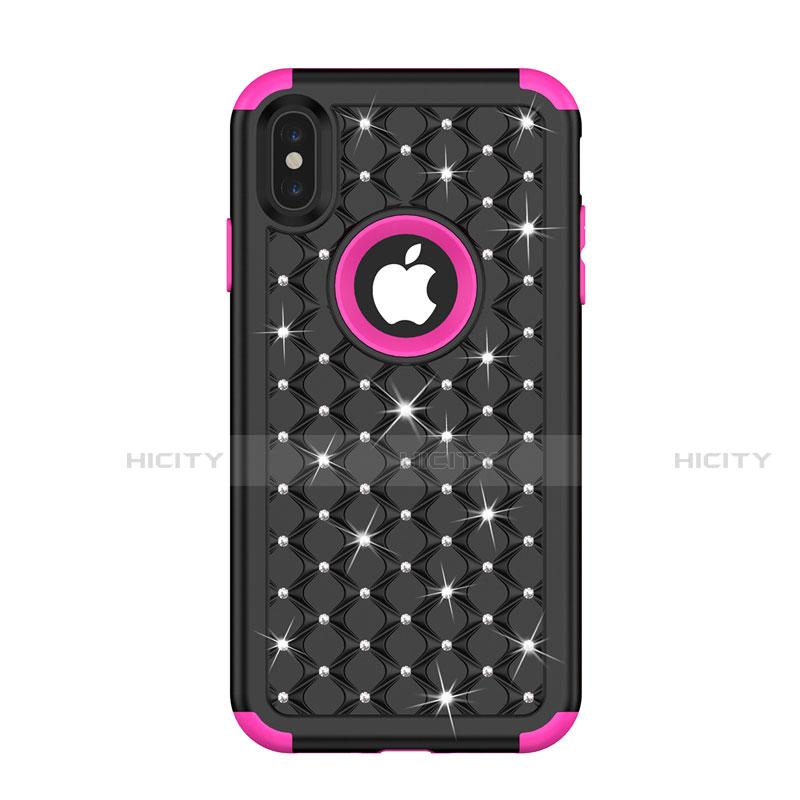 Apple iPhone Xs Max用ハイブリットバンパーケース ブリンブリン カバー 前面と背面 360度 フル アップル マルチカラー