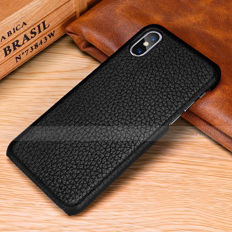 Apple iPhone Xs Max用ケース 高級感 手触り良いレザー柄 S10 アップル ブラック