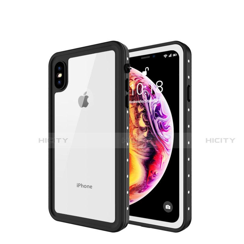 Apple iPhone Xs Max用完全防水ケース ハイブリットバンパーカバー 高級感 手触り良い 360度 W01 アップル ホワイト