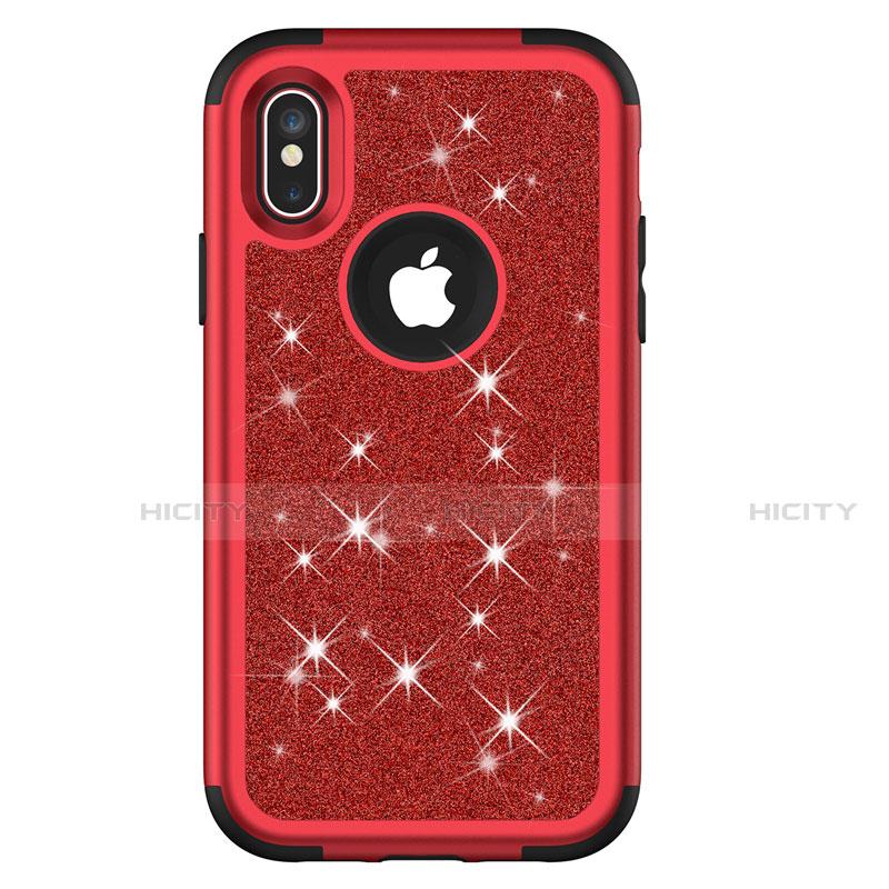 Apple iPhone Xs Max用ハイブリットバンパーケース ブリンブリン カバー 前面と背面 360度 フル U01 アップル レッド