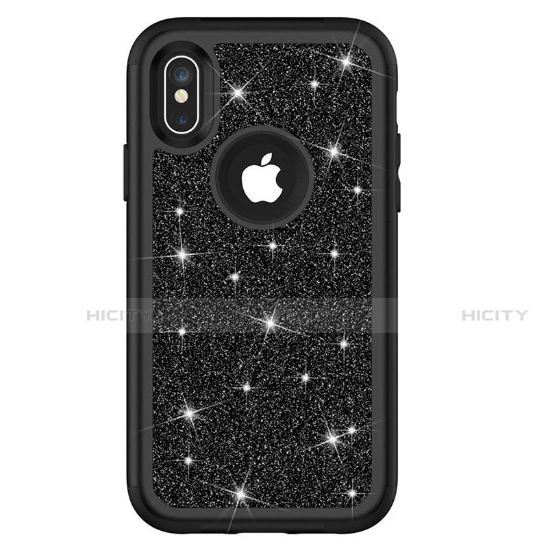 Apple iPhone Xs Max用ハイブリットバンパーケース ブリンブリン カバー 前面と背面 360度 フル U01 アップル ブラック
